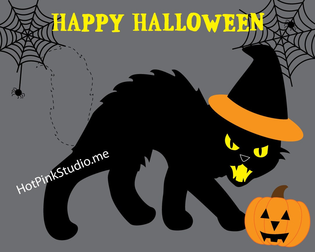 GAME Halloween Pin the Tail on the Spooky Black Cat Halloween Game or  Birhday Game INSTANT DOWNLOAD You Print