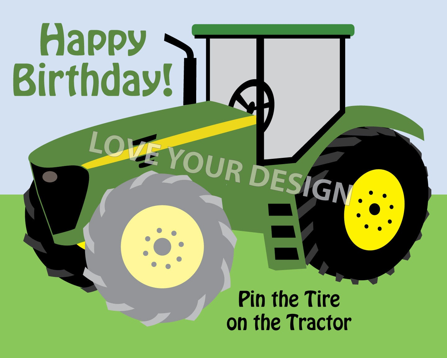 Game Farm Tractor Pin The Tire On The Tractor Birthday Party Etsy