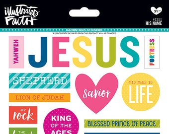 Illustrated Faith His Name Cardstock Stickers, Bible Journaling Sticker Sheet