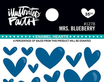 Illustrated Faith Mrs. Blueberry Enamel Hearts, Stickers for Bible Journaling/Scrapbooking/Crafting