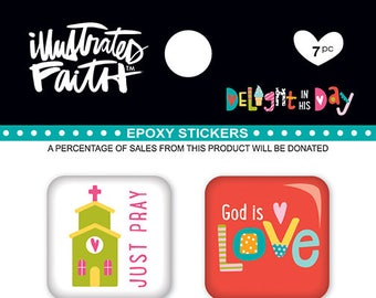 Illustrated Faith Delight in His Day Epoxy Stickers, Stickers for Bible Journaling/Scrapbooking/Crafting