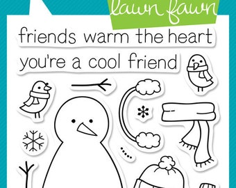 Lawn Fawn Making Frosty Friends Photopolymer Clear Stamp Set, Scrapbooking/Stamping/Paper Crafts