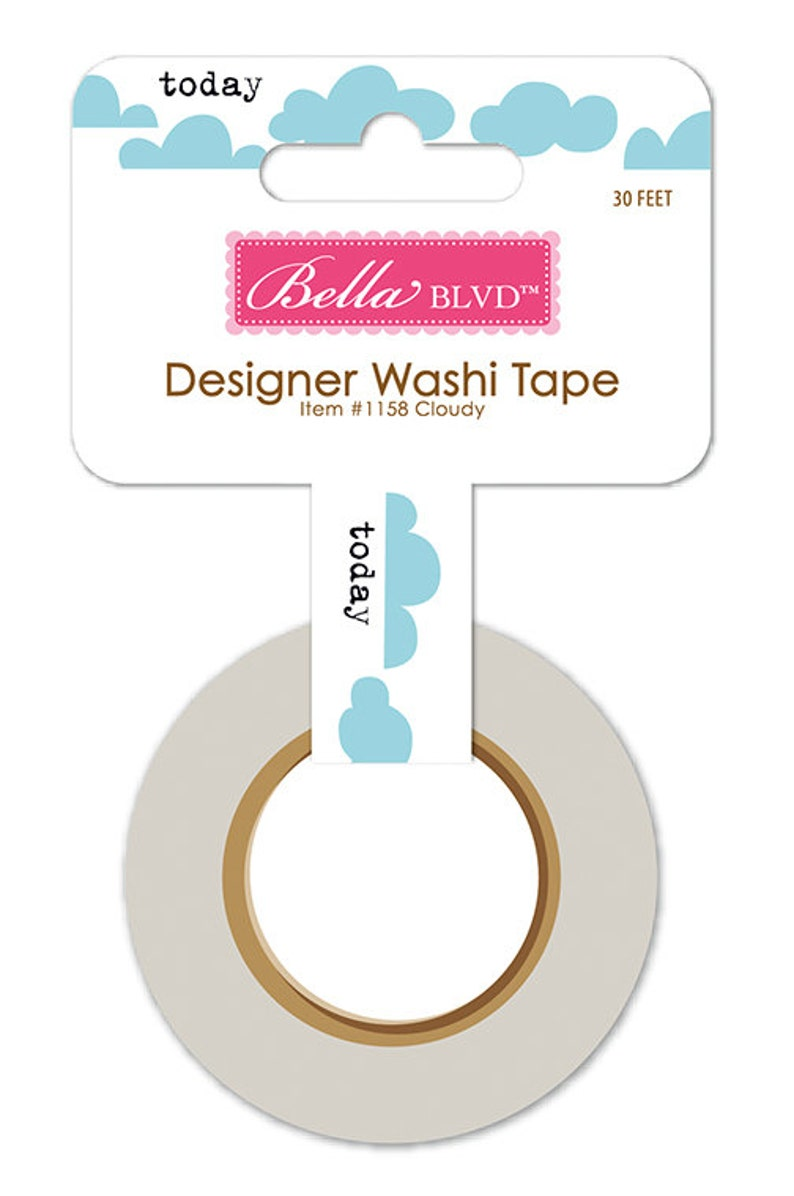 30-ft Roll of ScrapbookCrafting Tape Bella Blvd Let/'s Go Cloudy Designer Washi Tape