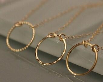 14k Gold Circle Necklace, 14K Circle Necklace, 14k Eternity Necklace, 14k Geometric Necklace, 14k Layering Necklace, 14k Gold Necklace