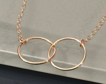 14k yellow gold circle necklace, 14K circle necklace, 14k eternity necklace, 14k infinity necklace, 14k trinity necklace, 14k layer necklace