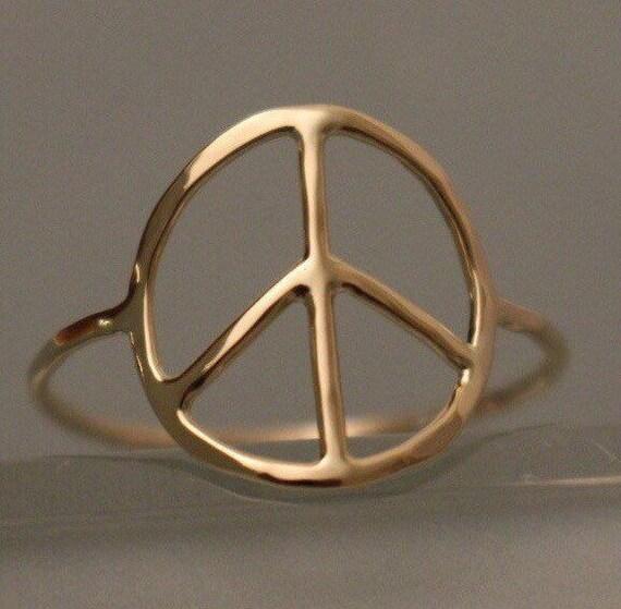 Peace Ring 14k Peace Ring 14k Peace Sign Ring 14k Peace Etsy