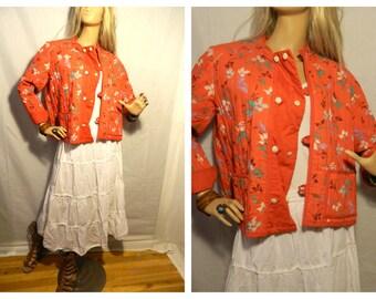 50% off Vintage 1970 Floral Jacket Red Handmade details Size Large