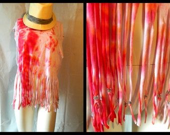 50% off Vintage Style Pink Red Orange Tie Dyed Size S-L Fringed Beaded Beach Cover up Festival Hippie