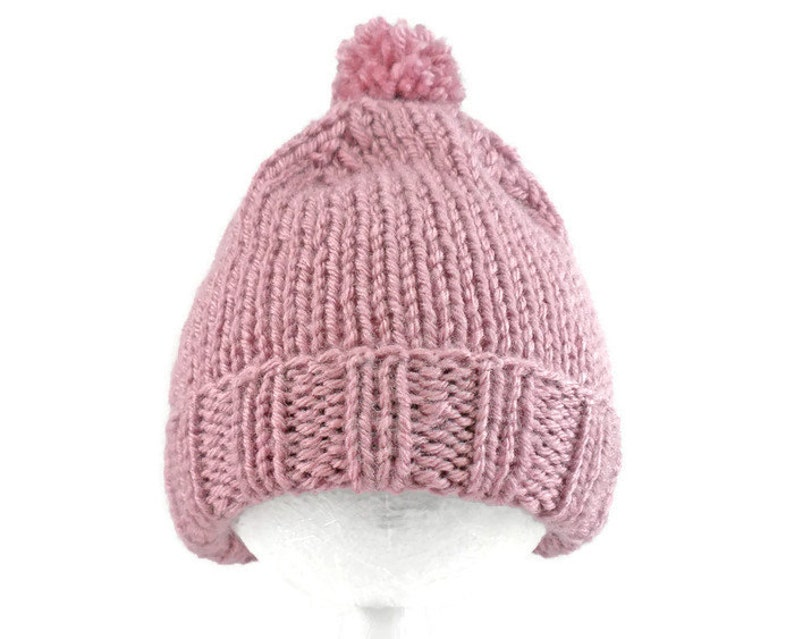38ab95c7848 Pink Baby Hat Hand Knit Acrylic Cap for Infants 3 to 6
