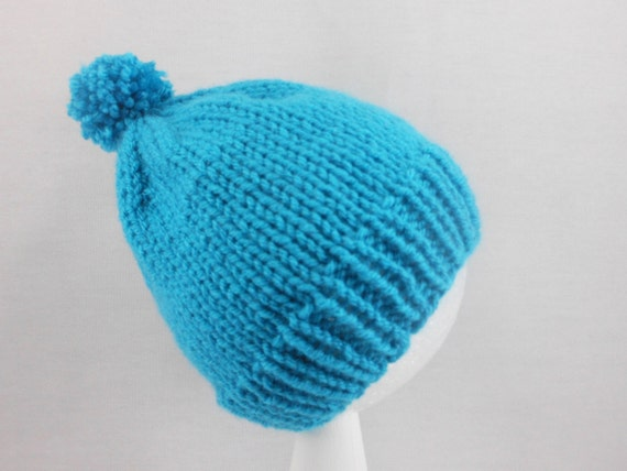 b0b243b18b3 Turquoise Baby Hat Hand Knit Cap Fitting Babies 3 to 6
