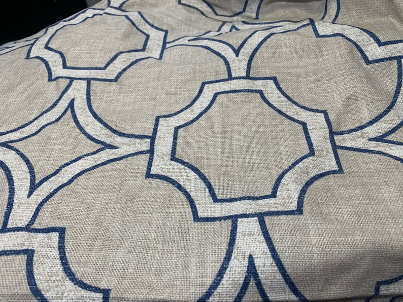 Price is for 92\u201d long remnant. Trend Vern Yip blue and natural geometric fabric