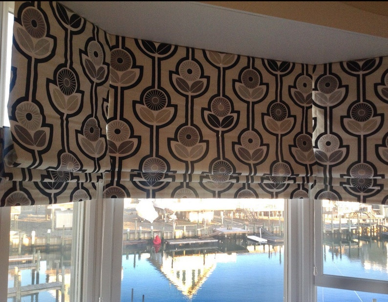 Roman Shades You provide the  fabric of your choice Custom Curtains Blackout Roman Shade Option