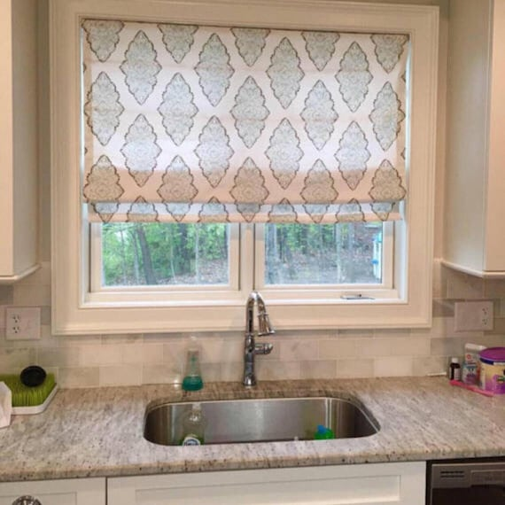 Kitchen Roman Shade, Custom Fabric Blinds, You provide the fabric of your  choice. Blackout Roman Shade Option