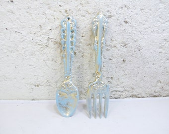 Shabby Kitchen Wall Decor/Fork and Spoon/Metal wall decor/Cast iron wall decor/Aqua Decor/Distressed Decor
