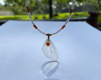 Silver Wing Beaded Necklace  Ethereal Angel Wings with Heart  Mixed Stone Beaded Choker Handmade Necklace