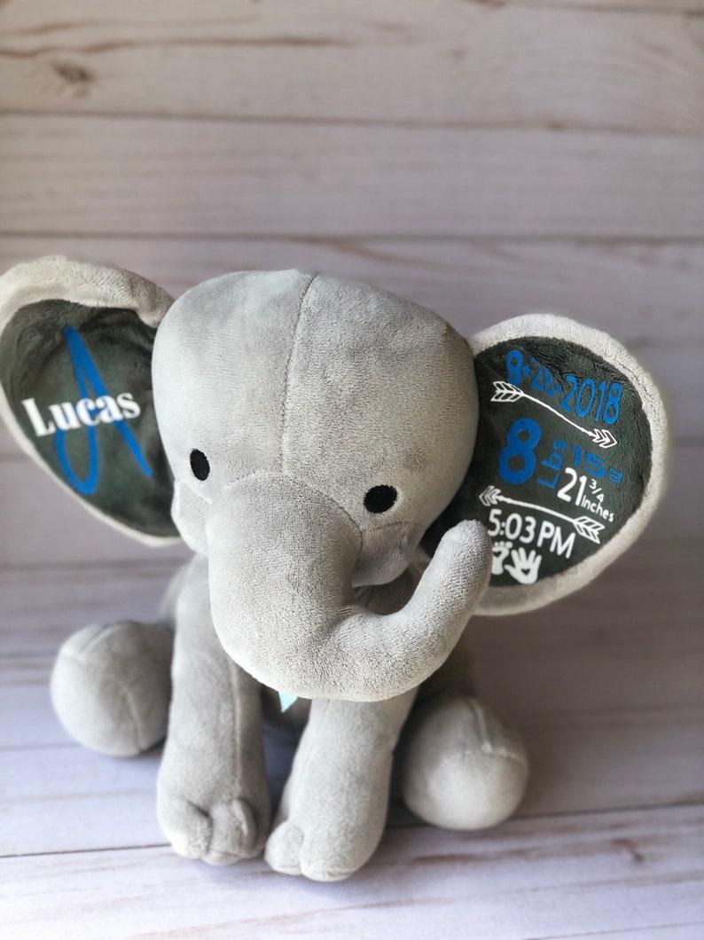 Birth Announcement Elephant for boy or girlNewborn giftBabyshowerMemory ElephantPersonalized ElephantBirthday giftanniversarybaby