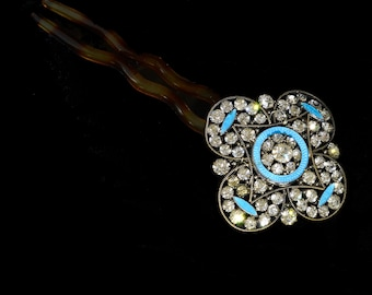 Rhinestone and blue guilloche enamel bridal/wedding/special occasion hair decoration featuring an original Edwardian jewel