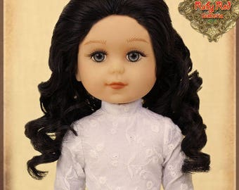 """KD0003A Curly Black Parting Wig for 14"""" Play Girl"""