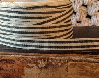 2 yards of small grosgrain ivory and pewter grey green striped ribbon
