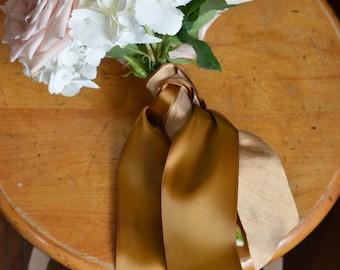 wide burnt gold bronze antique gold satin ribbon