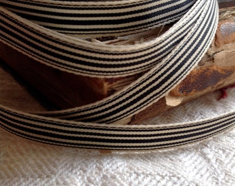 two yards of little striped grosgrain black and cream adorable ribbon