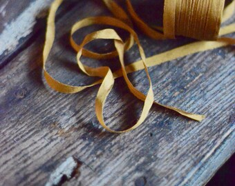 2 yards of small gold silk ribbon