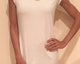 Classic scoop neck cap sleeves tunic top style CASP6. Sustainable Modal knit jersey material made 100% in the USA