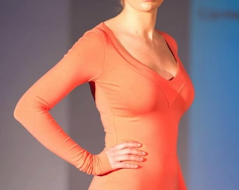 """Knit Jersey top CA -7 /  """"Sweetheart"""" neckline insert /  Sustainable modal knit jersey / Yoga clothes / Made in USA"""