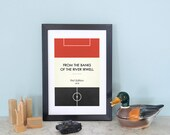 "Book Clubs: ""Man Utd"" A4 Football Print in red, white and black."