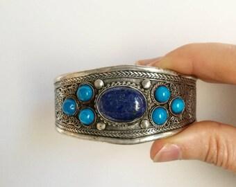 ON SALE Lapis Lazuli Gemstone, Tibetan Filigree Open Cuff, Bohemian jewelry, Boho bracelet, Gypsy Jewelry
