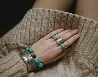 Handmade Beaded Bracelet, Turquoise and  Nepal beads, Bohemian Jewlery