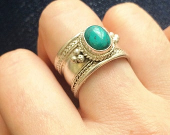 Tibetian vintage jewlery, Turquoise Tribal Jewelry, Turquoise Gemstone Ring,  Silver Plated ring, Bohemian jewelry, Gypsy jewelry