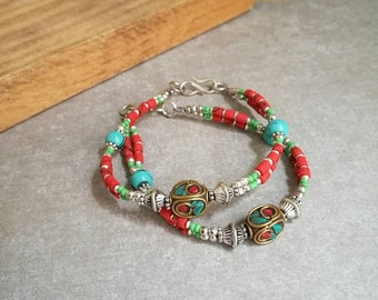 ON SALE Turquoise and Nepalese beads bracelet Handmade