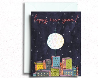 Happy New Year Ball Drop Greeting Card