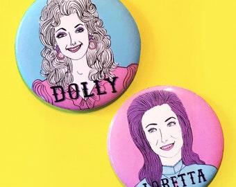 Dolly Parton and Loretta Lynn 2.25 Inch Refrigerator Magnet Set