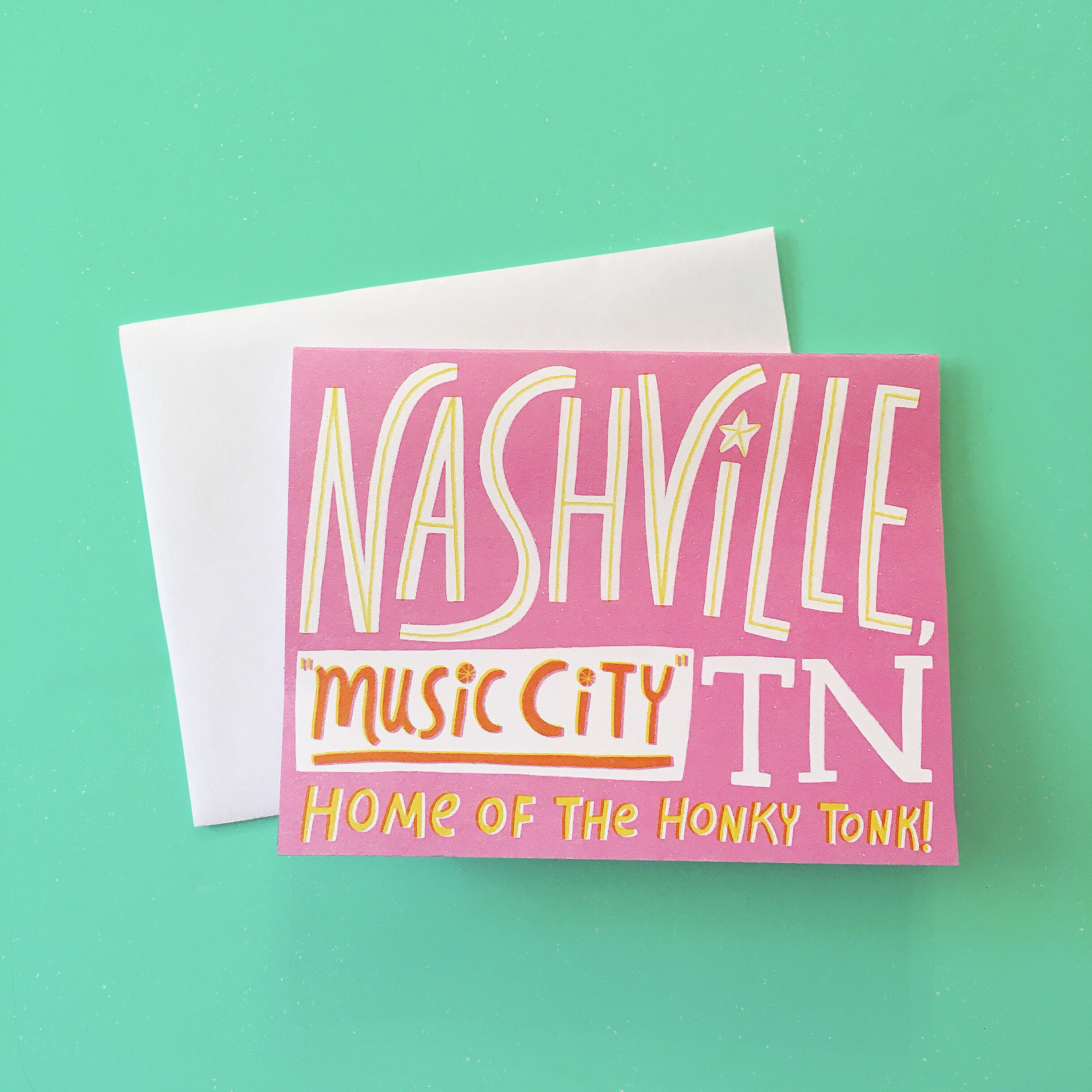 Nashville Tennessee Music City Greeting Card Etsy