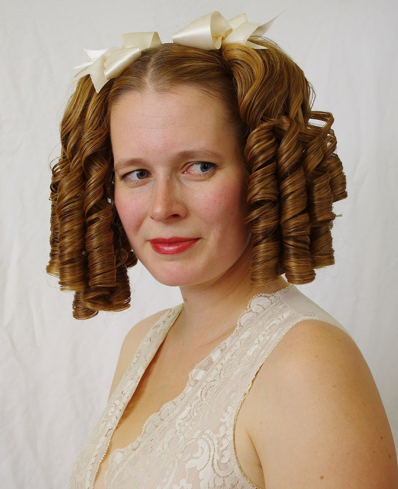 Victorian Wigs, Hair Pieces  | Victorian Hair Jewelry Double Lolita - romantic Lolita ringlet pair hairpiece - 2pcs set (also suitable for regency  victorian or civil war costumes) $81.69 AT vintagedancer.com