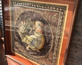Vintage Framed Burmese Kalaga Tapestry Featuring Rooster