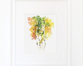 Birch in Autumn- Watercolor Art Print