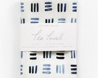 Indigo Hash - Watercolor Tea Towel
