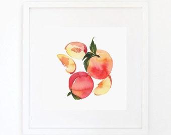 Peaches - Watercolor Art Print