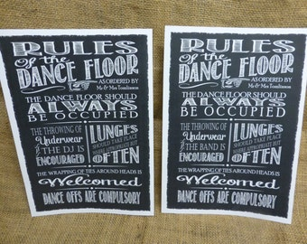 Personalised with your details - Chalkboard style Rules of the Dance Floor - perfect for weddings/parties - Dragonfly Print Original!