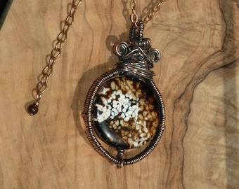 Handmade Leopard Agate Wire Wrap Pendant Necklace,  Brown Tan White Rustic Boho Pendant Necklace,  OOAK Gift for Her, Arcturus Creations