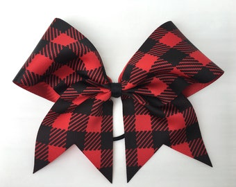 Red buffalo check cheer bow, buffalo plaid cheer bow, red and black ponytail bow, cheerleading bow, 3 inch ribbon, 8 inch bow