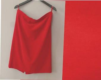 70s velvet skirt In a very good vintage condiiton. M size Fire red fully lined vintage plain skirt inner lining red polyester
