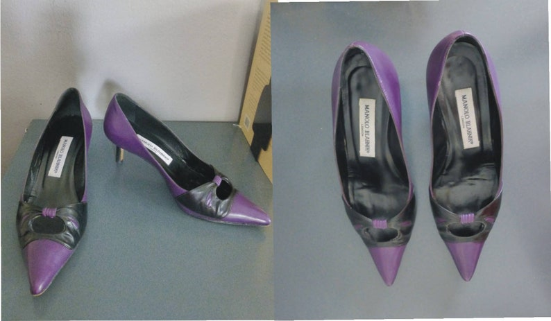 54a802f083178 Manolo Blahnik heels. 37 EU size. Purple & black leather | Etsy