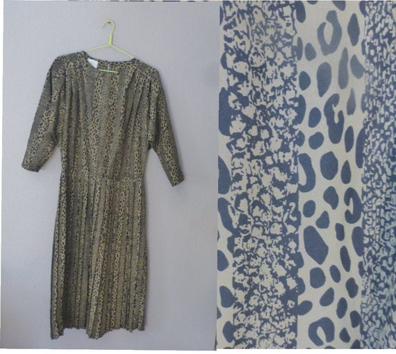 80s leopard print dress. 3XL size. 100% polyester
