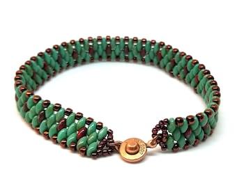 Green Travertine Copper Bead Bracelet, Super Duo Bracelet, Cool Bracelet