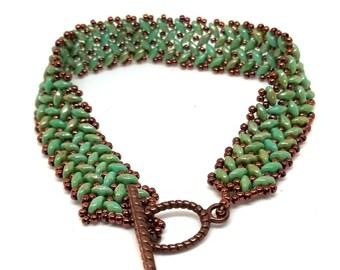 Turquoise SuperDuo Bracelet, Bestfriend Gift, Cool Bracelet