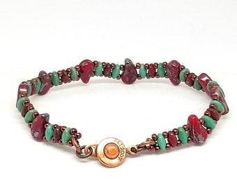 Red SuperDuo Bracelet, Bead Bracelet, Cool Bracelet, Gift for Her